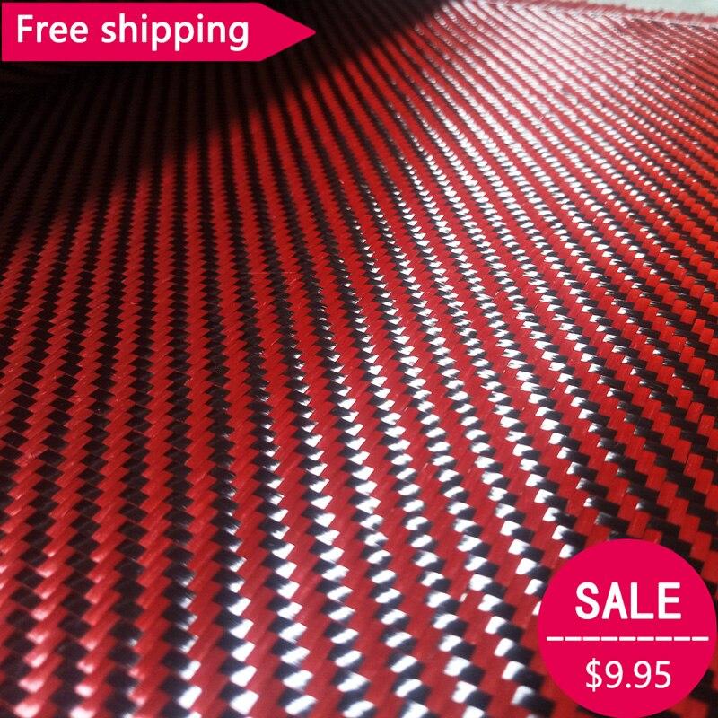 """Frete grátis vermelho kevlar & 3 k fibra de carbono tecido misto 200gsm 12 """" / 30cm de largura 2x2 sarja aramida fibra carbono híbrido kevlar pano"""