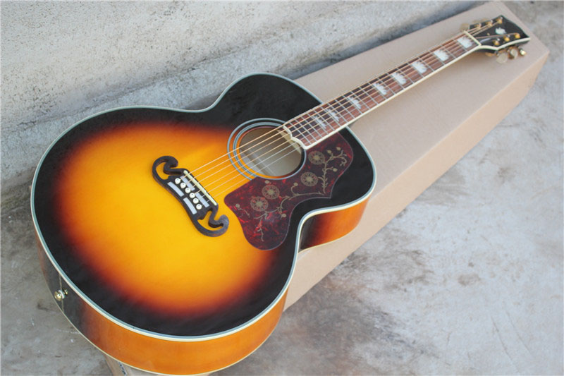 free shipping Top quality New Arrival sunset sunburst SJ200  J200 Vintage Sunburst Acoustic Guitarr