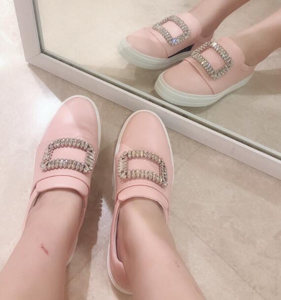 Moraima Snc cristal embelli bout rond femme chaussures rose blanc en cuir sans lacet chaussures décontractées mode mocassins