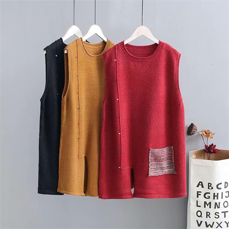 Plus size spring autumn loose vest sleeveless sweaters 2018 new fashion knitted O neck pockets wool female tops wear Pullovers