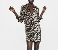 za Women european print ANIMAL leopard PRINT SHIRT DRESS full sleeve print Dress Hot Sale Women Clothing vestidos