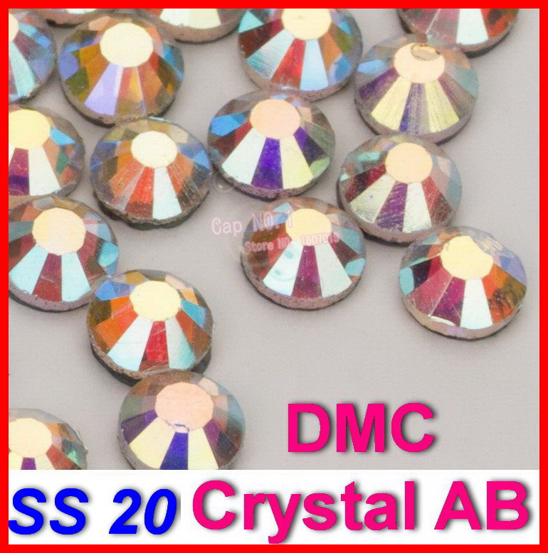 SS20 1440pcs / Çanta Clear AB Crystal DMC HotFix FlatBack şüşə Rhinestones strass, istilik köçürməsində dəmir dəmir isti Fix kristal daşlar