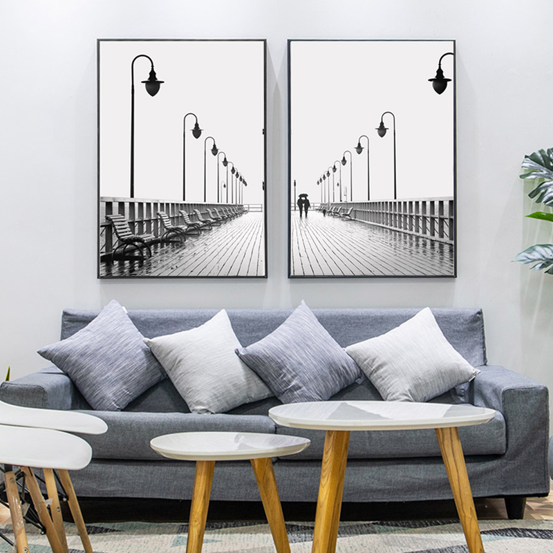 Minimalist Street Lamp Canvas Painting Poster Black and White Wall Art Fashion Photography Posters and Prints Modern Home Decor