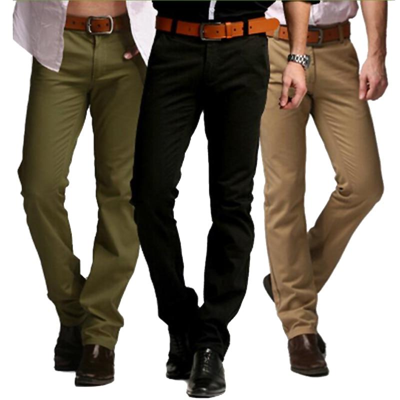 2019 Sıcak Marka Rahat Pantolon Erkekler Orta Tam Ince Düz Takım - Erkek Giyim - Fotoğraf 3