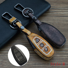New Antique Doodle Genuine leather + Metal alloy car key cover case ring keychain For Ford New Focus Fiesta Ecosport kuga(China)