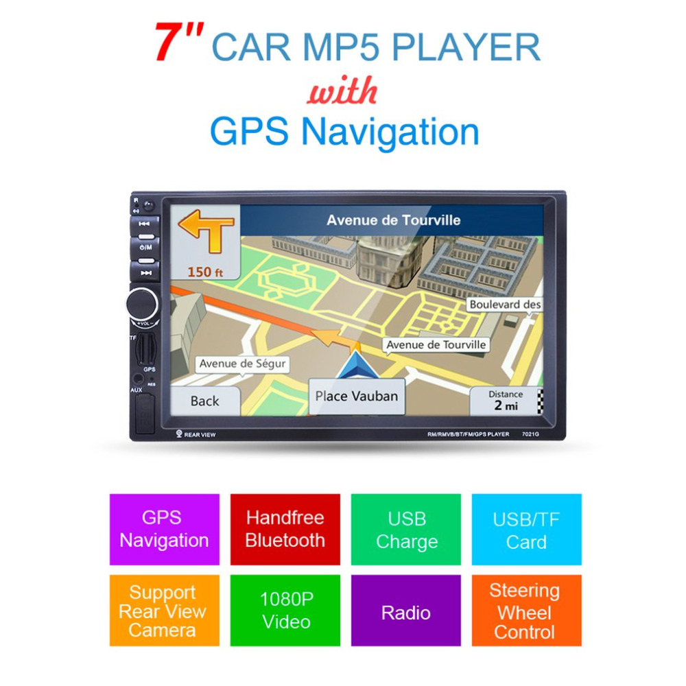 7021G 7-Inch 1080P HD Touch Screen Car MP5 Player GPS Navigation Handsfree Bluetooth FM Radio Tuner AUX Audio Input7021G 7-Inch 1080P HD Touch Screen Car MP5 Player GPS Navigation Handsfree Bluetooth FM Radio Tuner AUX Audio Input