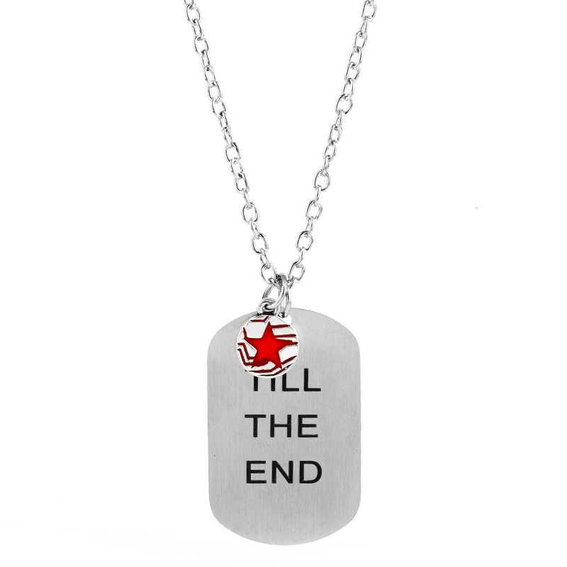 복수 자 미국 캡틴 스티브 겨울 군인 버키 반스 나는 라인의 끝까지 당신과 함께 여자를위한 스테인레스 스틸 목걸이