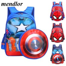 Hot Captain America Boys schoolbag Lovely Cartoon Backpack casual Travel Shoulder Bag Suitable for 6-12 years old Gift bag(China)