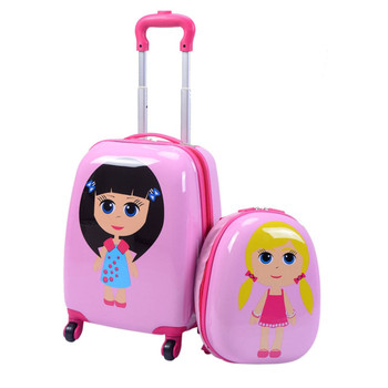 "Cute Girls Kids Suitcases Set Multi-directional Wheel 12"" Backpack and 16""Rolling Child Pink Luggage Set ABS Students Travel Bag"