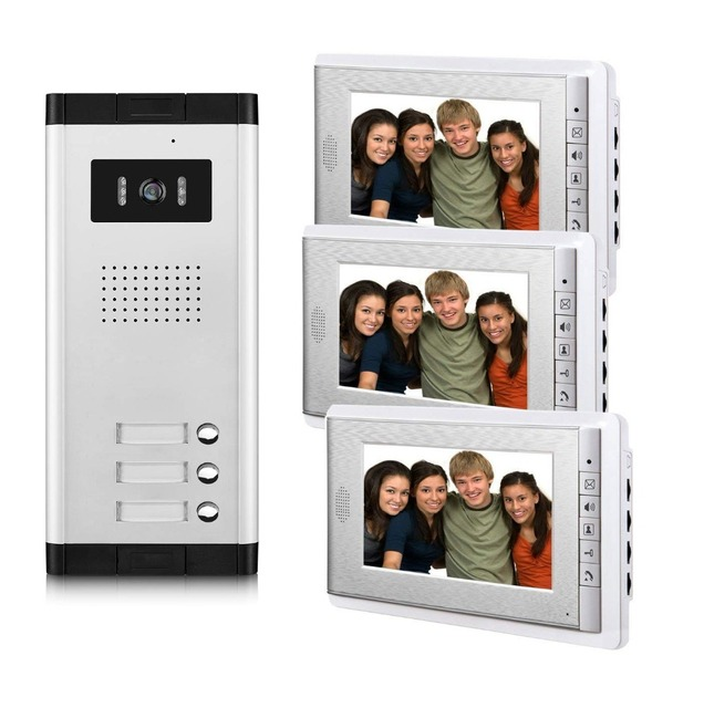 2/3/4 Units Apartment Video Door Phone Intercom System Video doorbell Kit for 2-4 Apartments house 1 Camera 2-4 Monitor