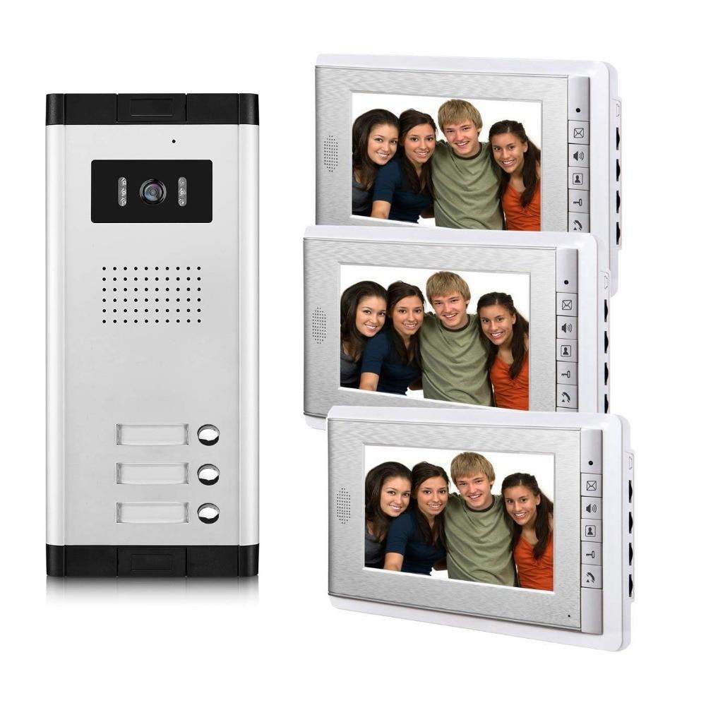 2/3/4 eenheden Appartement Video Deurtelefoon Intercom Systeem Video deurbel Kit voor 2 4 Appartementen huis 1 Camera 2 4 Monitor