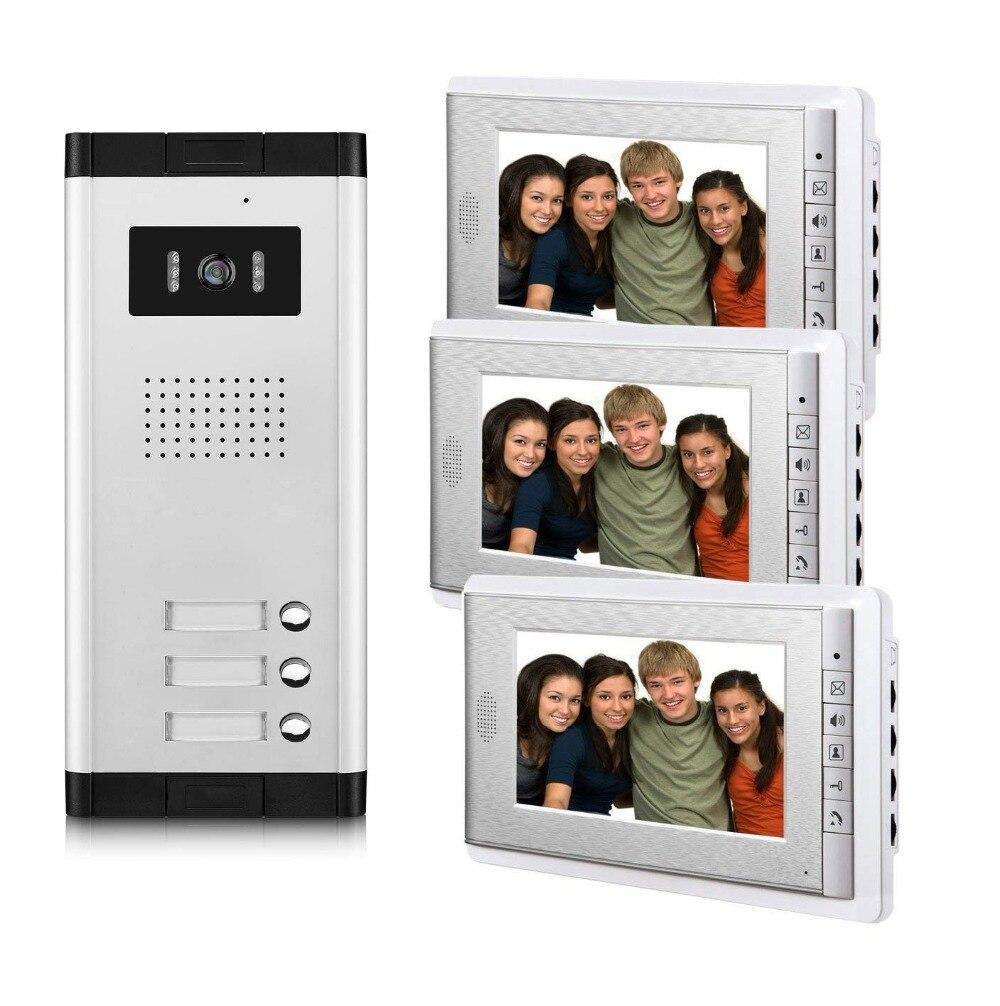 2/3/4 unidades apartamento telefone video da porta intercom sistema de vídeo campainha kit para 2 4 apartamentos casa 1 câmera 2 4 monitor