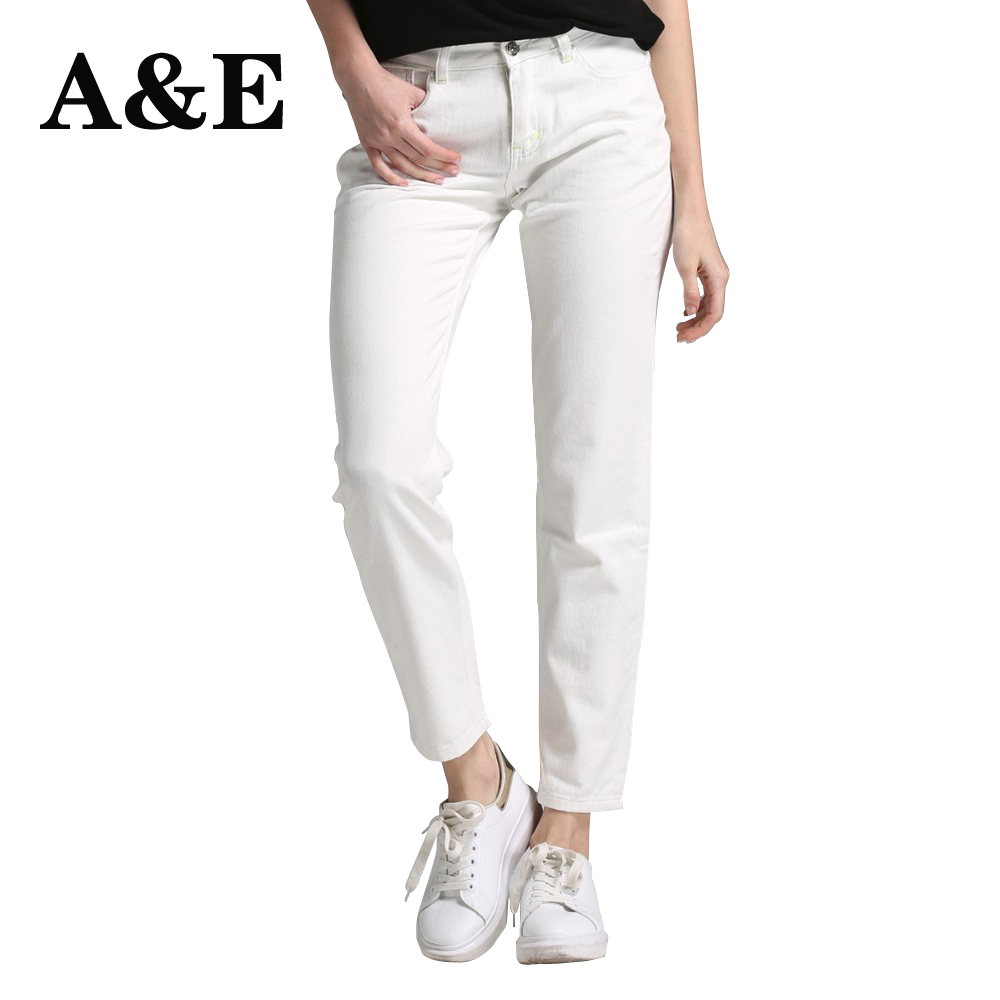 Alice & Elmer White Boyfriend   Jeans   For Women   Jeans   Pants Women Mid-Waist Denim   Jeans   Female Pants