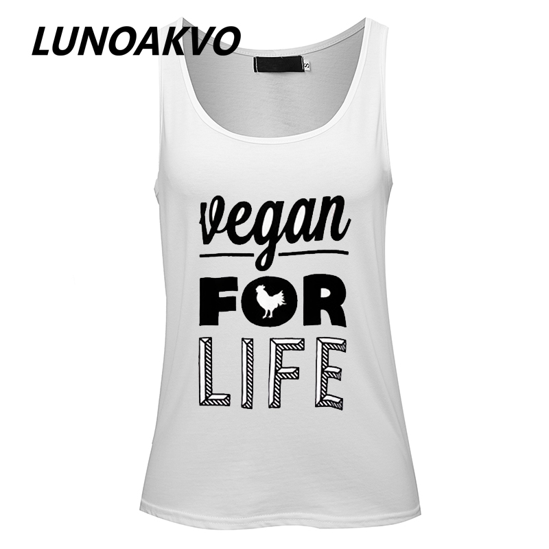Vegan for Life Organic Women Tunic Tank Top Casual Tank Top women casual letter printing ...