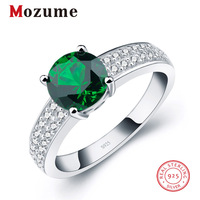 Classic Charm Round Green Russian Nano Created Emerald Rings CZ Genuine 925 Sterling Silver For Women Fine Fashion Jewelry Gift