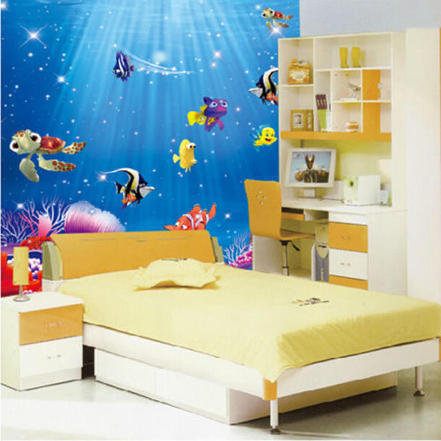 Underwater World Sea Various Shark Fish Ocean Cartoon DIY Wall Stickers Wallpaper Mural Kids Child Room