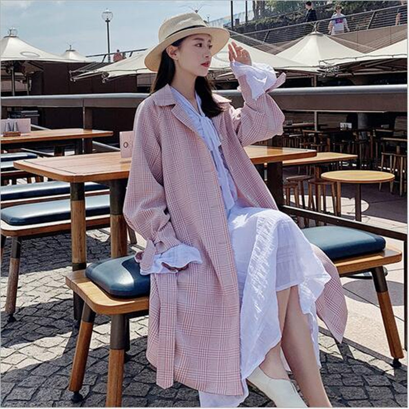 À Longue 2019 Rouge Carreaux La Femme Doux vent Nouvelle De Populaire Coupe 1 Vent Printemps Net Coréenne Veste Version SMzVUpq
