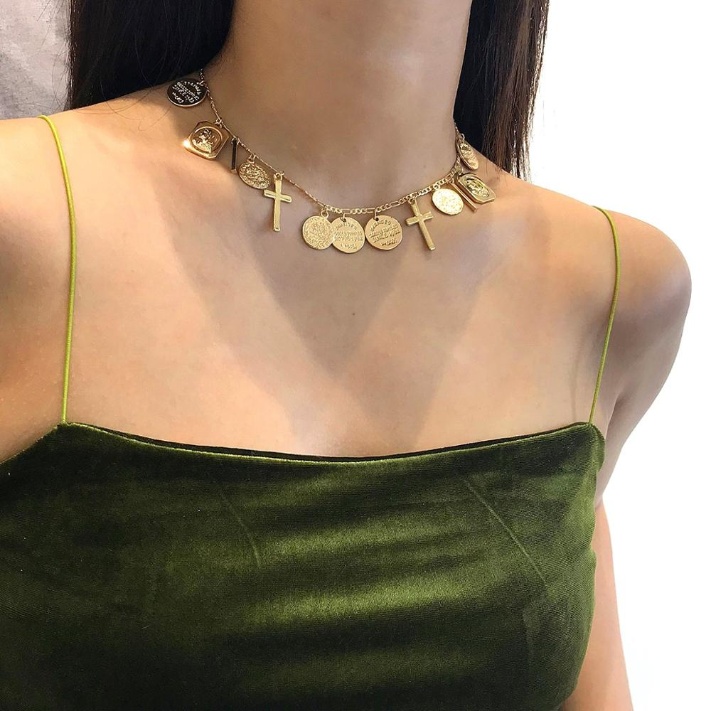 Vanmos Alloy Carved Coins Cross Pendant Choker Necklace Christian Vintage Style Female Neck Collar Charm Women Jewelry Best Gift in Choker Necklaces from Jewelry Accessories