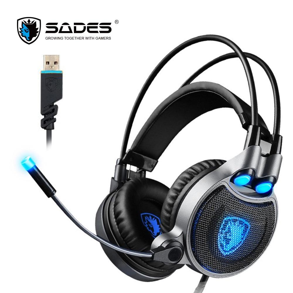 все цены на  SADES R1 Virtual 7.1 Surround Sound Gaming Headset Over-ear USB Computer Headphones with Vibrating Bass and LED Light  онлайн