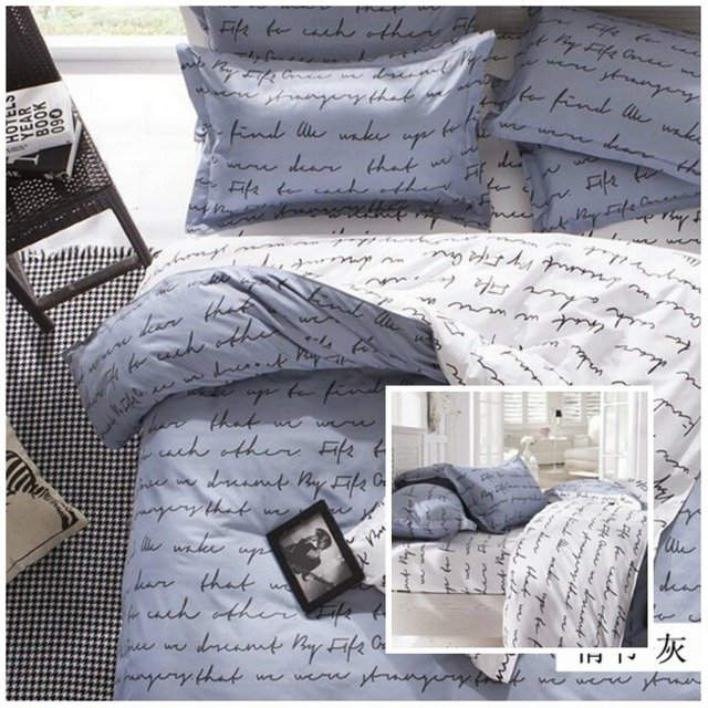 Home Textile Fashion Creative Design English Love Letter Bedding Set Modern Style Duvet Covers Personality Sets