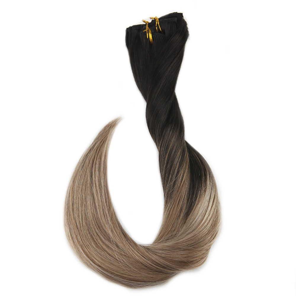 Full Shine Clip In Hair Extensions Balayage Ombre Color 1B Dark Roots Fading To #8 And #22 Machine Remy Human Hair