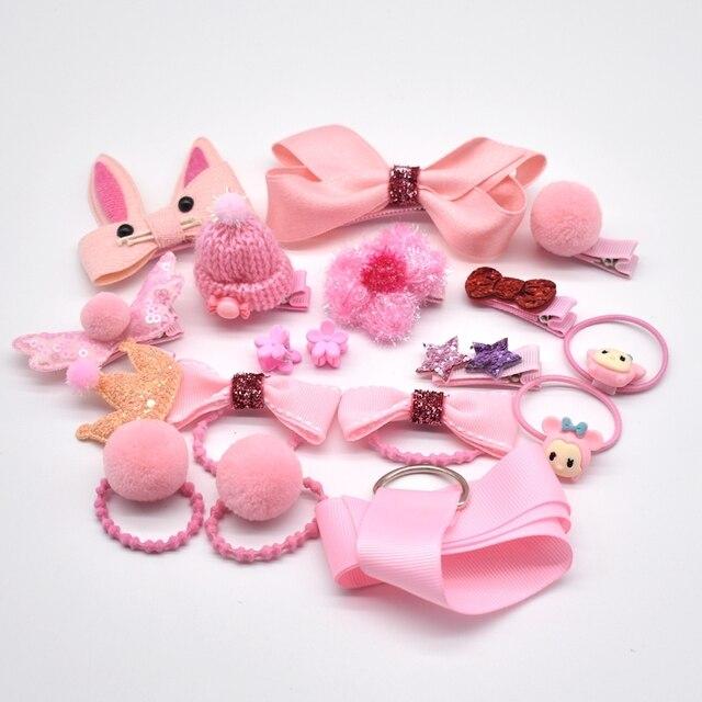 18 Pcs/Box New Children Accessories Hairpins Fabric Hair clips Girls Headdress 1