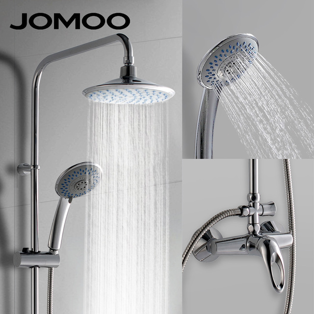 JOMOO Rain Shower Head Set Chrome 9 inch 4.8 inch with Slide Bar ...