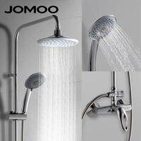 JOMOO Rain Shower Head Set Chrome Plated Round Rainfall Shower Slide Bar Shower Hose Wall Mount