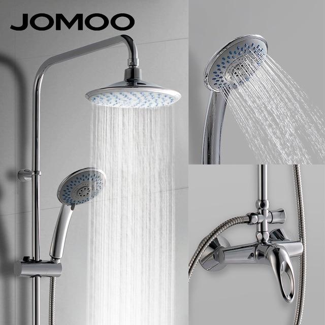 JOMOO Shower Faucets Set Rainfall Waterfall Spray Brass Material Stainless  Steel Hose High Pressure Large Rain Shower Head