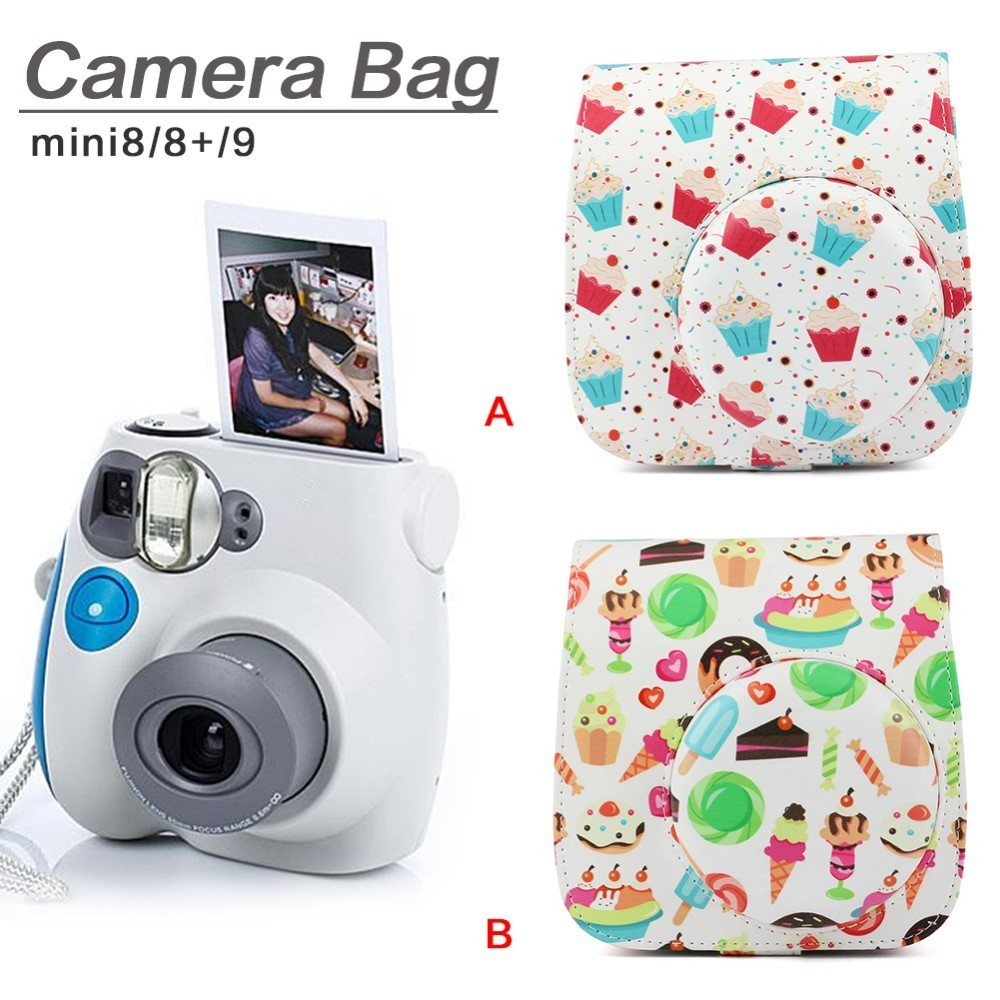 NEW Camera Case PU Leather Camera Protective Shell for Fujifilm Instax Polaroid Mini 8/ 8+/ 9 Bag