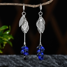 Elegant Blue Crystal Multicolor Leaves Silver Color Earrings Long Drop Dangle Jewelry for Women Girls