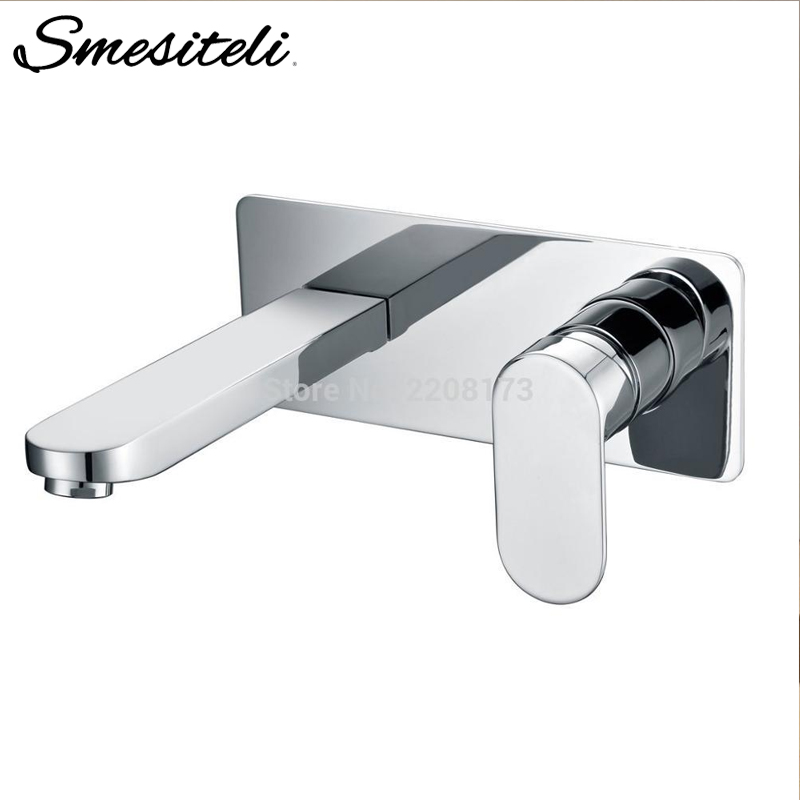 Smesiteli Brass Wall Mounted Basin Faucet Polished Chrome Bathroom Mixer Tap Hot & Cold Water Tap Single Handle Basin Mixer jieni wall mounted brass basin faucet single handle mixer tap hot cold bathroom bathtub water mixer matt black white gold set