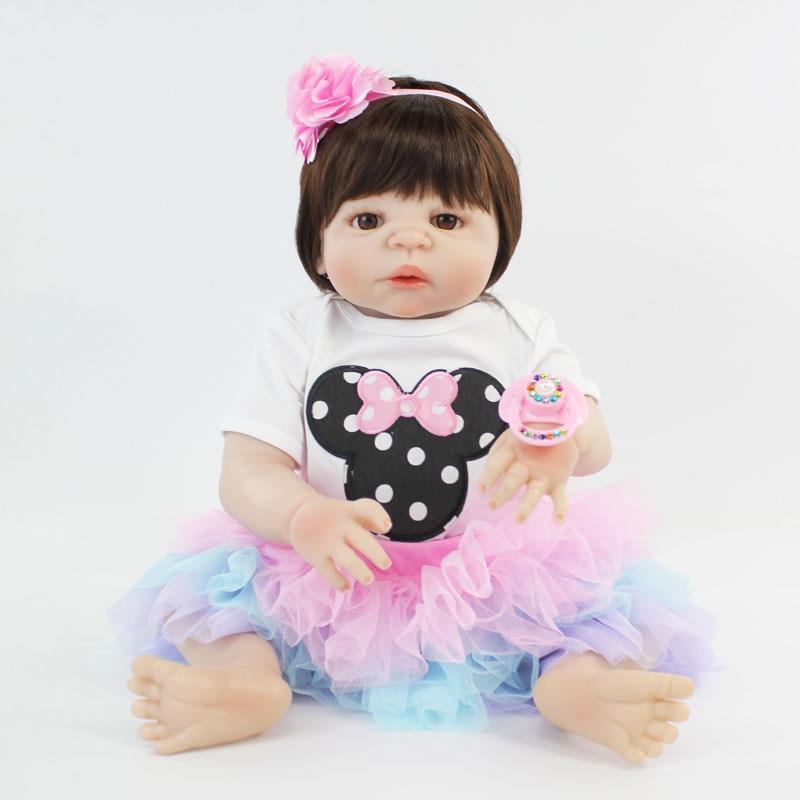 55cm Full Body Silicone Reborn Baby Doll Toy Vinyl Newborn Princess Babies Like Alive Bebe Girl Boneca Bathe Toy Play House Toy
