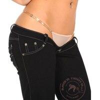 Sexy Women Plus Size Black Super Low Rise Waist Jeans Fold Flare Pants Denim Long Trousers Sexy Denim Pants Casual F126
