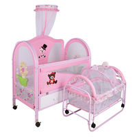 Metal Double Roller Bed Playpen Crib for Baby Small Rocker Baby Swing Bed Twin Newborn Crib Trolley with Drawers Roller Brake