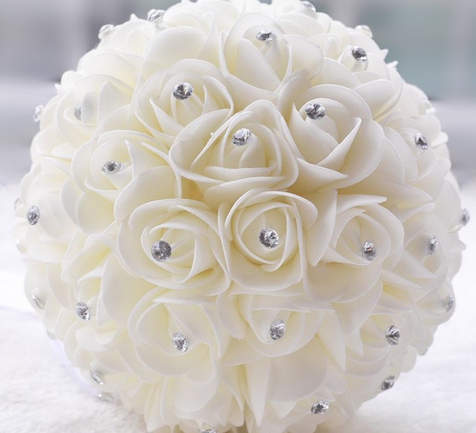 Hot Beautiful White Ivory Bridal Bridesmaid Flower Wedding Bouquet