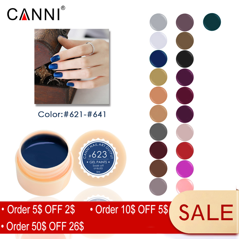 621 641 Canni Soak Off Painting Gel 5 Ml Pure Colors Solid