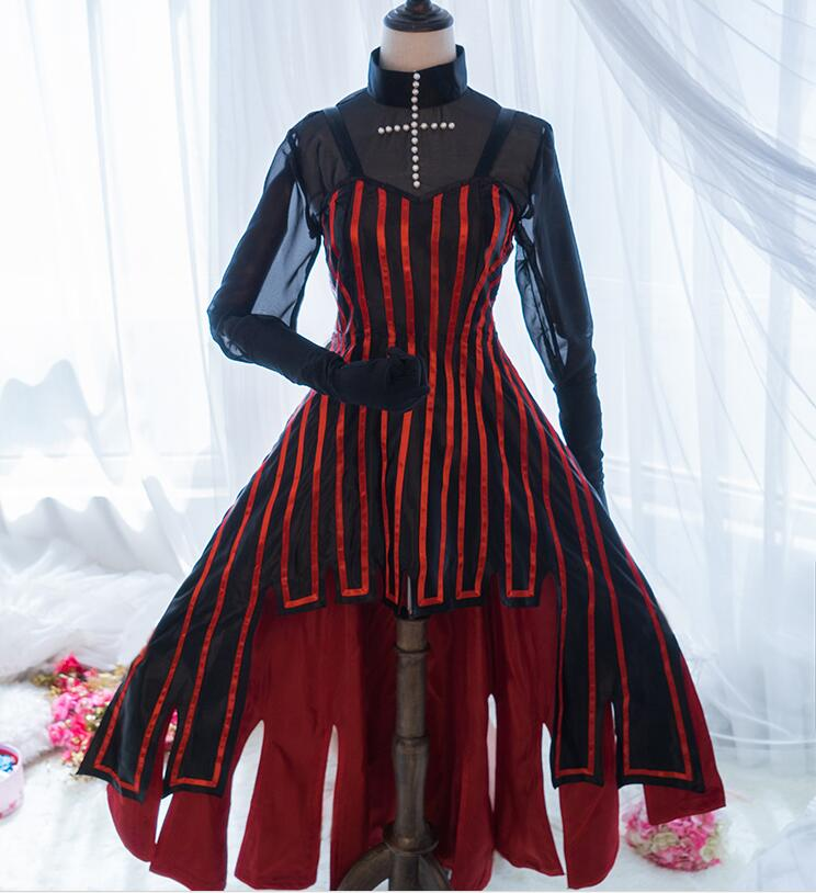 Fate/Stay night Anime Cosplay Tohsaka Rin Halloween Party Woman Japanese Lolita Gothic Dress Cosplay Costume