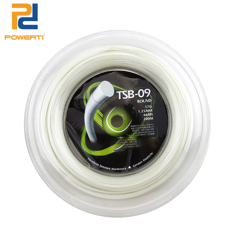 POWERTI Round Polyester 1.25mm Tennis Racket String 200m Reel Durable Training Gym Sport White Tennis String for Men TSB-09 free shipping geo synthetic hexagonal nylon soft tennis racket string reel tsb 03