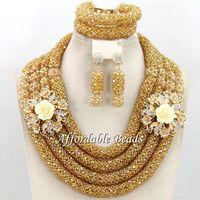 Hot Dubai Gold Jewelry Set Nice African Jewelry Set Handmade Design Wholesale Free Shipping BN572