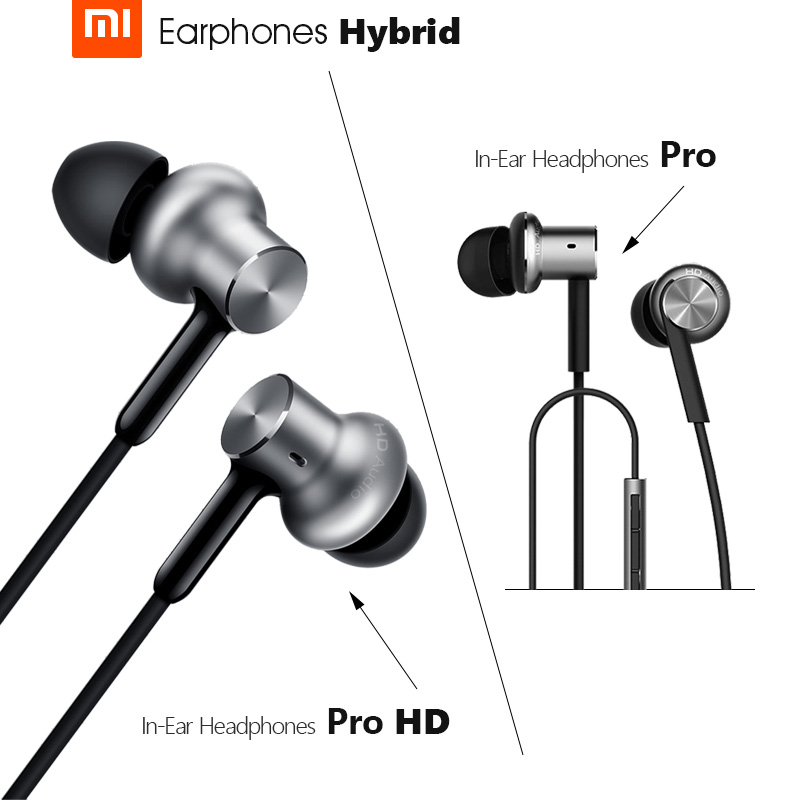 Original Xiaomi Earphone Mi Earbuds Hybrid Pro HD Headset With Microphone 100% original xiaomi hybrid pro hd earphone with mic in ear hifi noise canceling headset circle iron mixed for xiaomi note4 mi 6