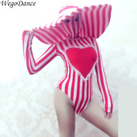 sexy Red White Striped Stretch Skinny Bodysuit Big Hat Nightclub woman Singer DJ Dance Costume Bar Party Catwalk Stage Clothes