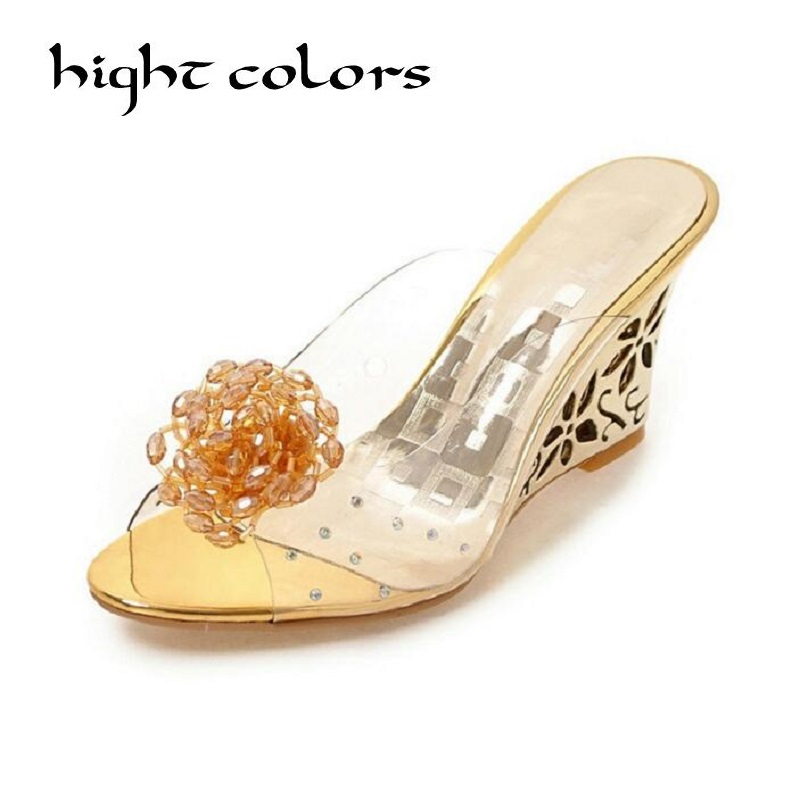 Flower Rhinestone Wedges Slippers Plus Size Female High-Heeled Gold Crystal Transparent Open Toe Sandals Women Shoes Size 33 43 rhinestone luxury flower sexy high heeled shoes open the toe women sandals peep toe cut out gladiator sandals plus size 41 42