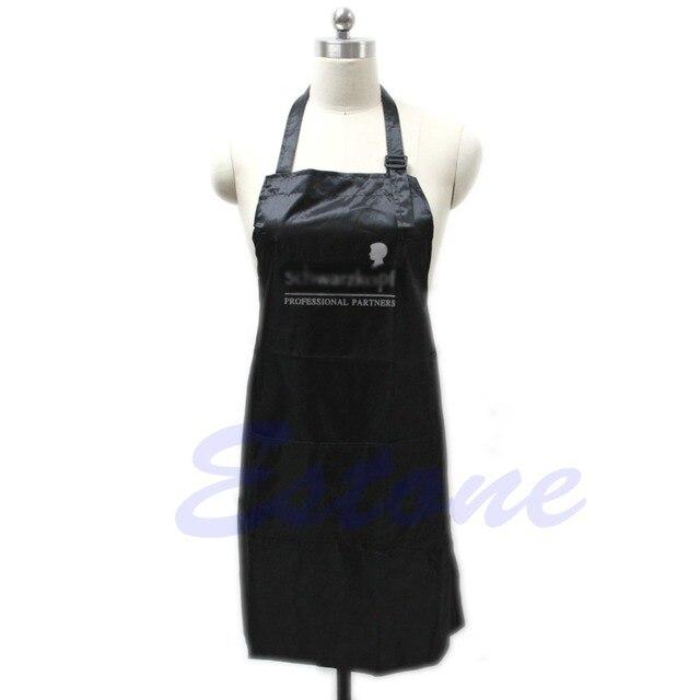 Горячий черный Регулируемый фартук нагрудник Униформа с 2 карманами парикмахерский салон инструмент для волос