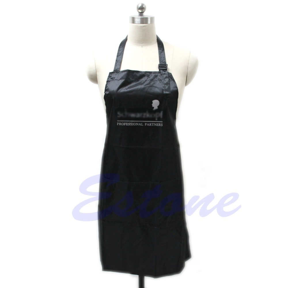 HOT Black Adjustable Apron Bib Seragam Dengan 2 Pockets Hairdresser Salon Hair Tool