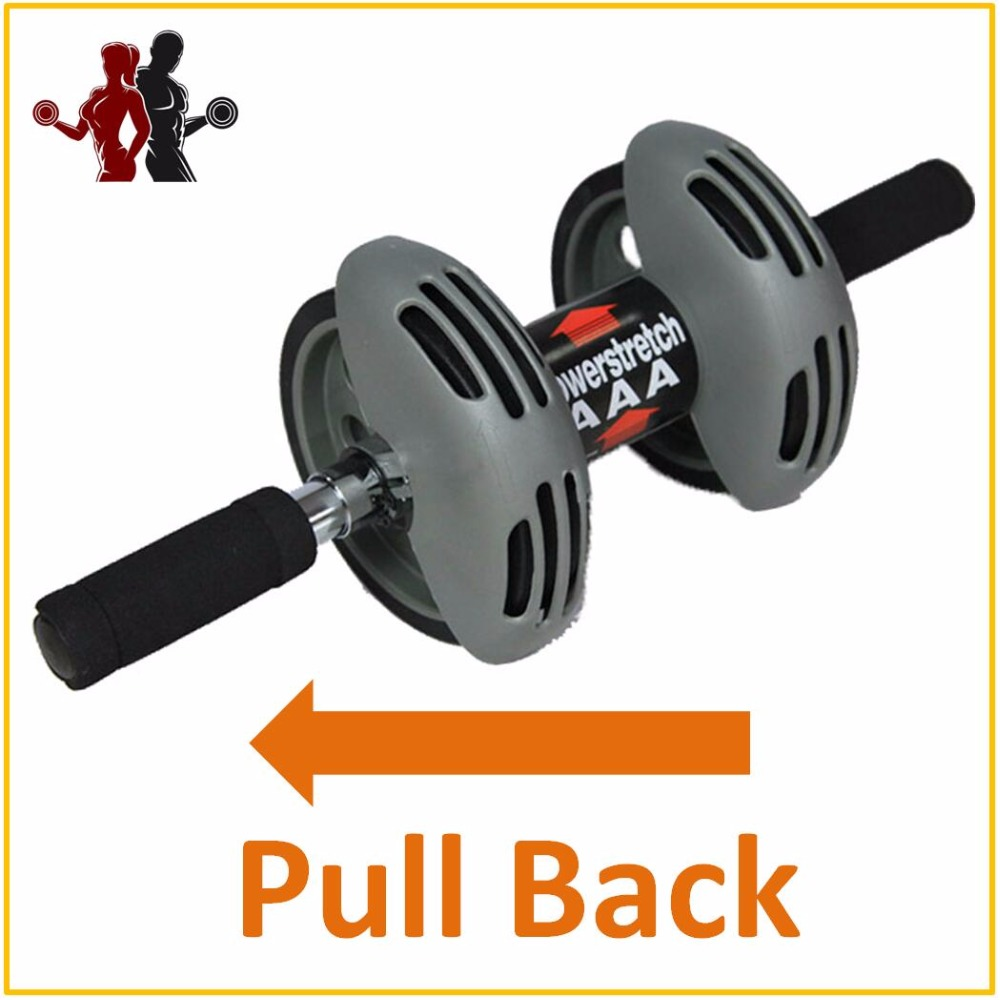 Power Stretch Double-wheeled Pull Back Ab Abdominal Press Wheel Rollers Crossfit Exercise Equipment for Body Building Fitness ...