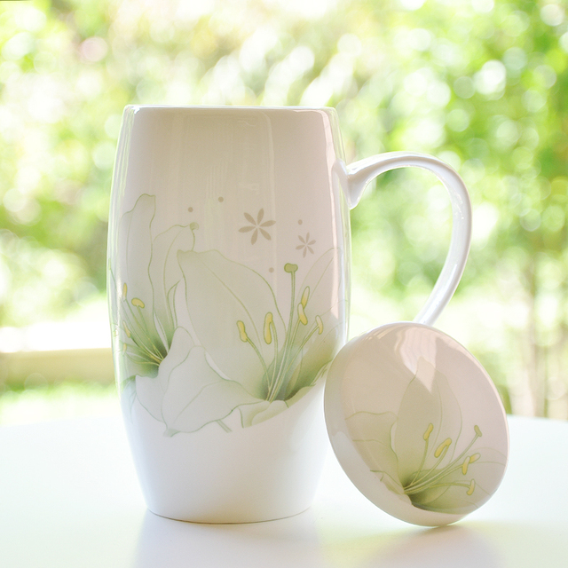 Coffee  Milk Mugs Green and white Peony Coffee Milk Tea Ceramic Mug Gift for Flower Cup