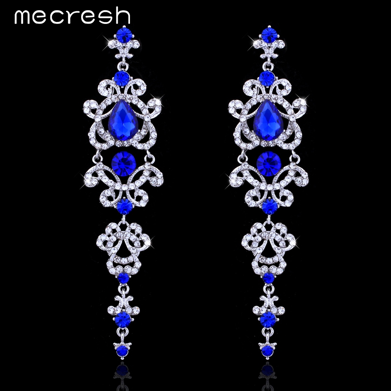 Mecresh Blue/Silver Color Chandelier Crystal Long Earrings for Women Rhinestone Hanging Earrings Bridal Wedding Jewelry EH421
