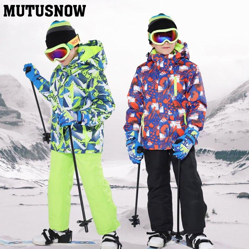 Enfants Ski costume enfants marques coupe-vent imperméable chaud filles et garçon neige ensemble pantalon hiver Ski et snowboard veste enfant - 3