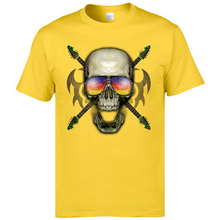 Fashion Clothing Normal Short Sleeve Tops T Shirt For Men NEW YEAR DAY Pure Cotton Tees Men T Shirt Metal Guitar Skull Head цена и фото